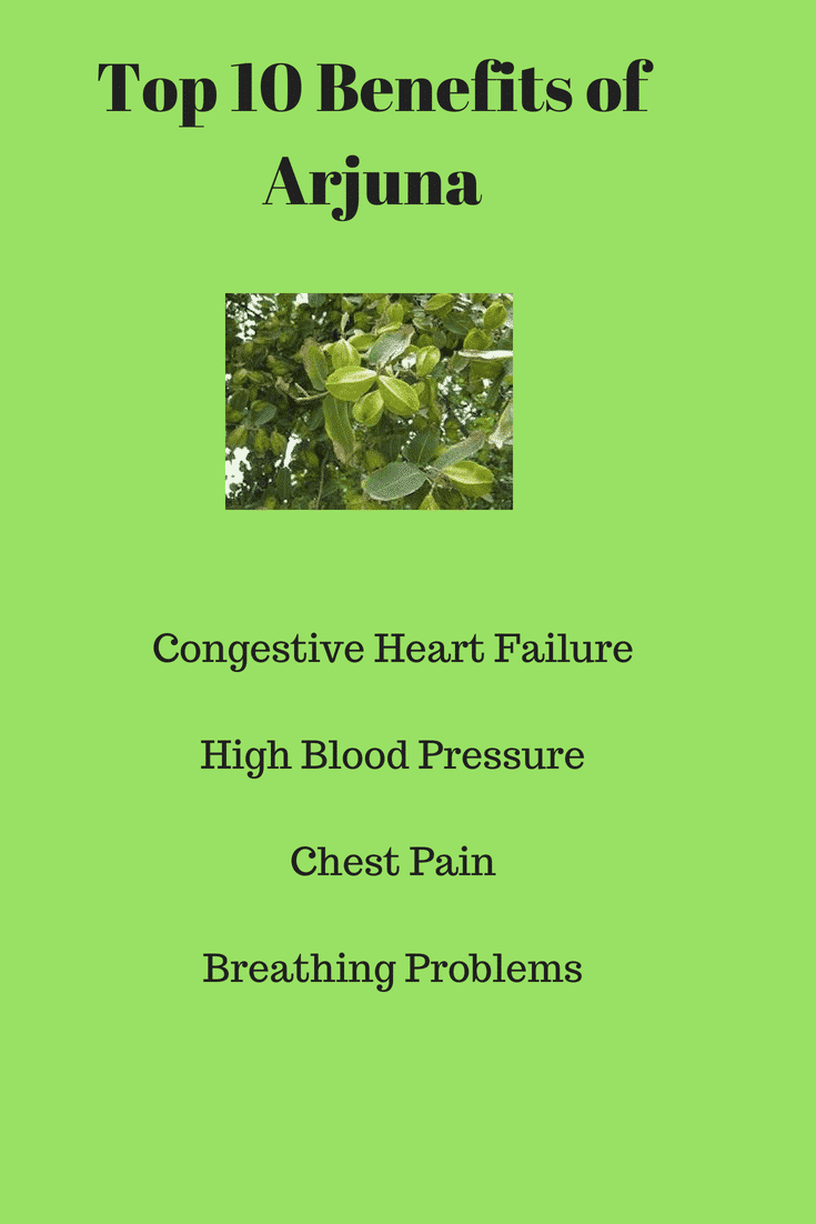 Arjuna is used for treating cardiovascular disorders such as high blood pressure, congestive heart failure, and chest pain.Arjuna is also used for respiratory problems, liver problems, and hemorrhoids.